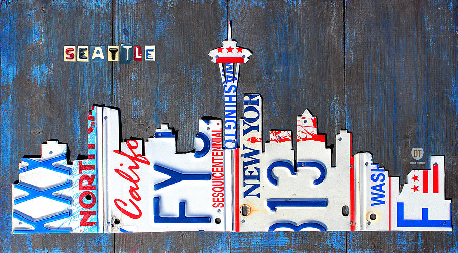 License Plate Map Mixed Media - Seattle Washington Space Needle Skyline License Plate Art By Design Turnpike by Design Turnpike
