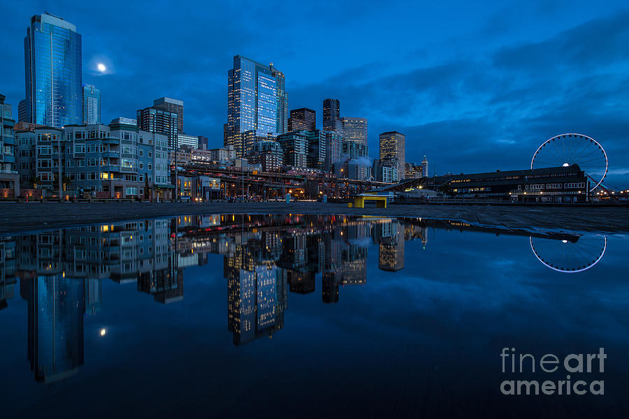 Moon Photograph - Seattle Waterfront Reflection by Mike Reid