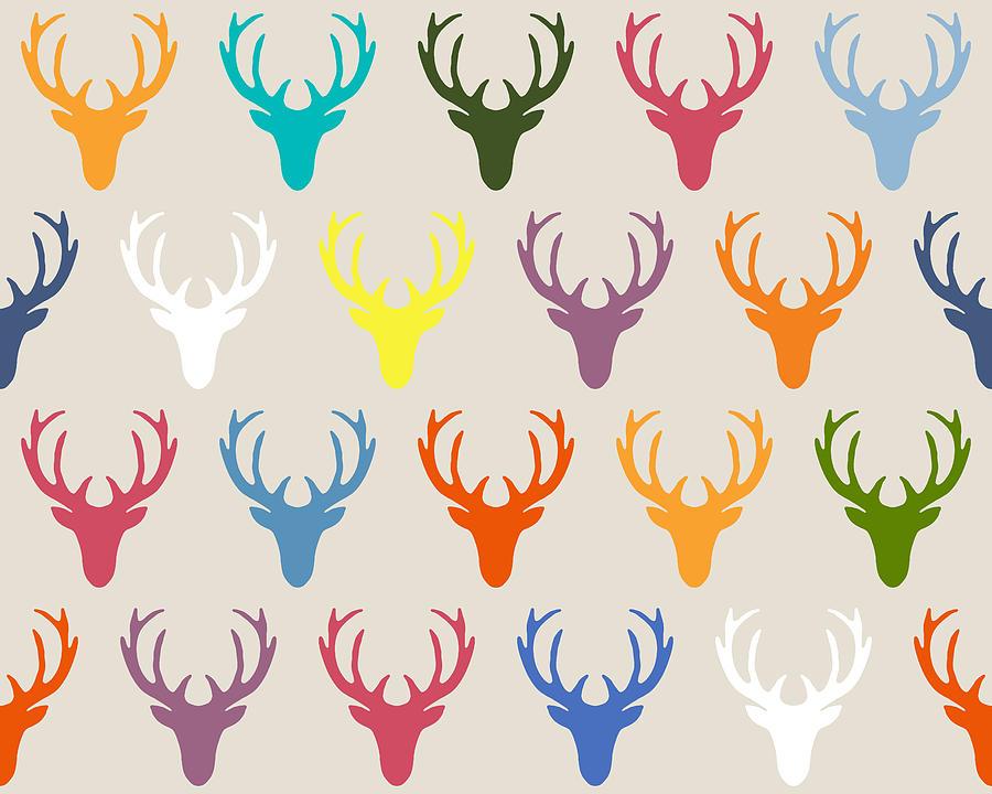 Deer Drawing - Seaview Simple Deer Heads by MGL Meiklejohn Graphics Licensing