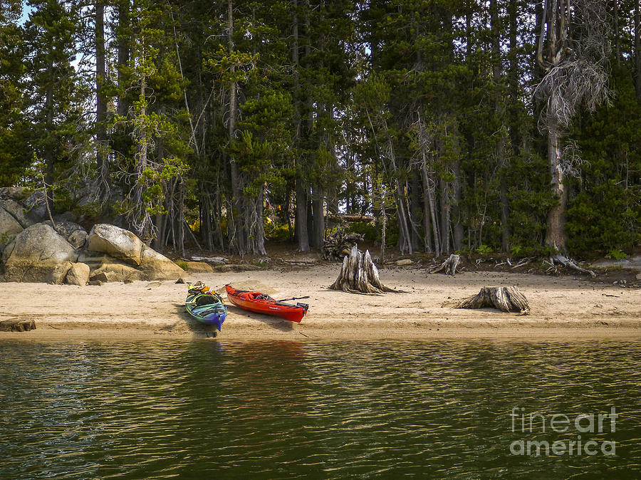 Kayak Photograph - Secluded Beach Camp by Cheryl Wood