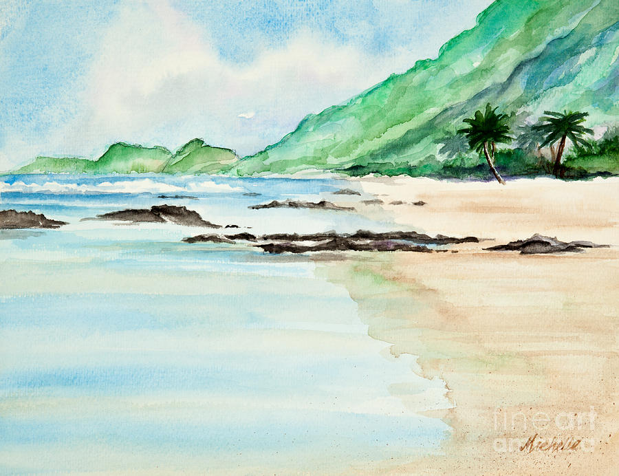 Secluded Tropical Beach Watercolor Painting Michelle