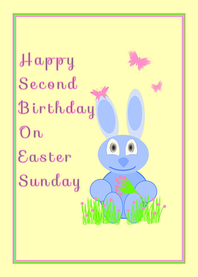 Easter Mixed Media - Second Birthday On Easter by Rosalie Scanlon