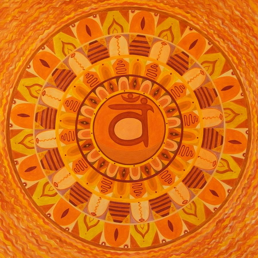 Second Chakra Mandala Painting by Vlatka Kelc
