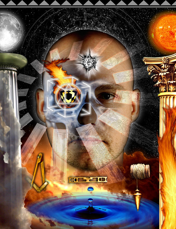 Esoteric Digital Art - Second Degree Masonic Tracing Board by Gregory Stewart