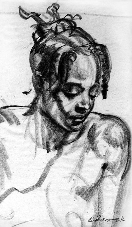 Black Girl Portrait Drawing - Second Thoughts by Karl Gnass