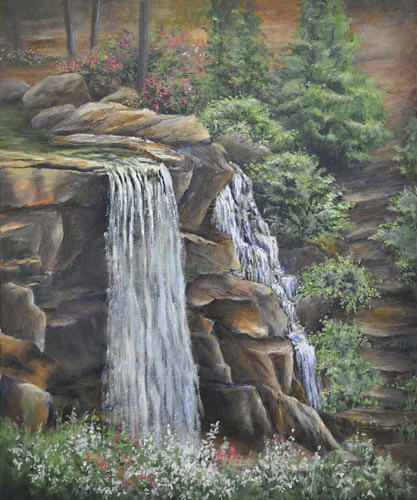 Waterfalls Painting - Secret Garden by Barbara Seibel