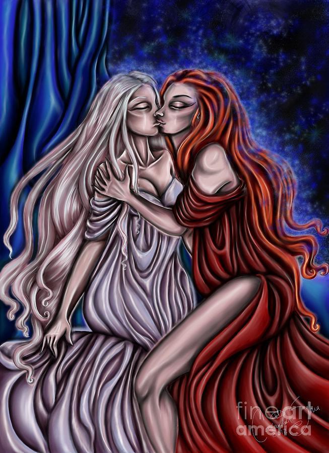 Secret Digital Art - Secret Kisses by Coriander  Shea