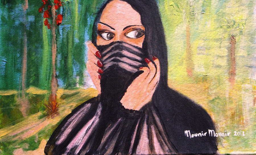 Behind The Veil Painting - Secret Love by Mounir Mounir