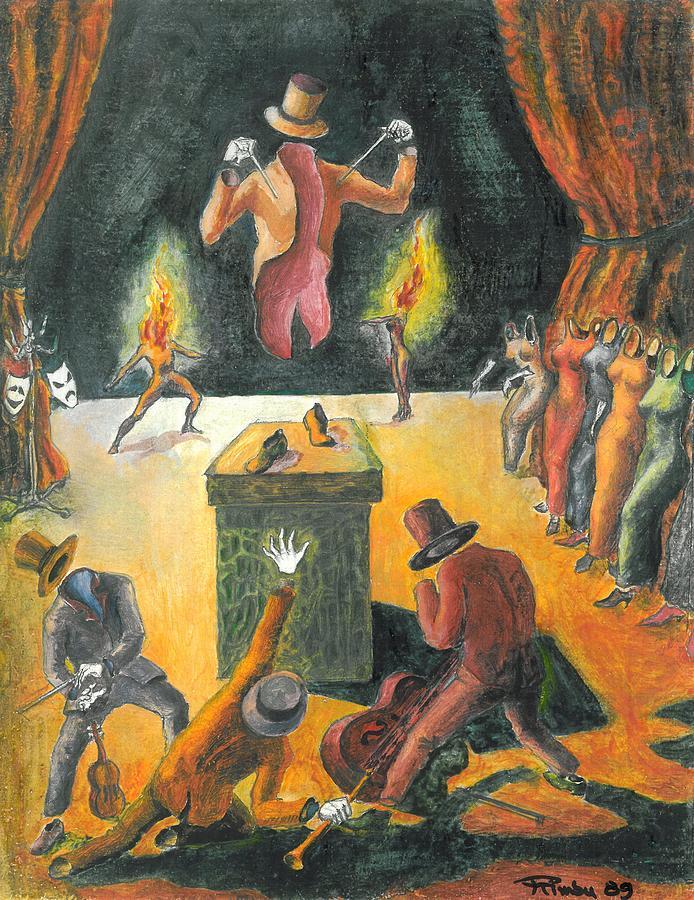 Theater Painting - Secret Night Suits by Rimbu Iulian