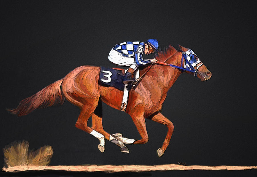 Secretariat Mixed Media - Secretariat And Turcotte by GCannon
