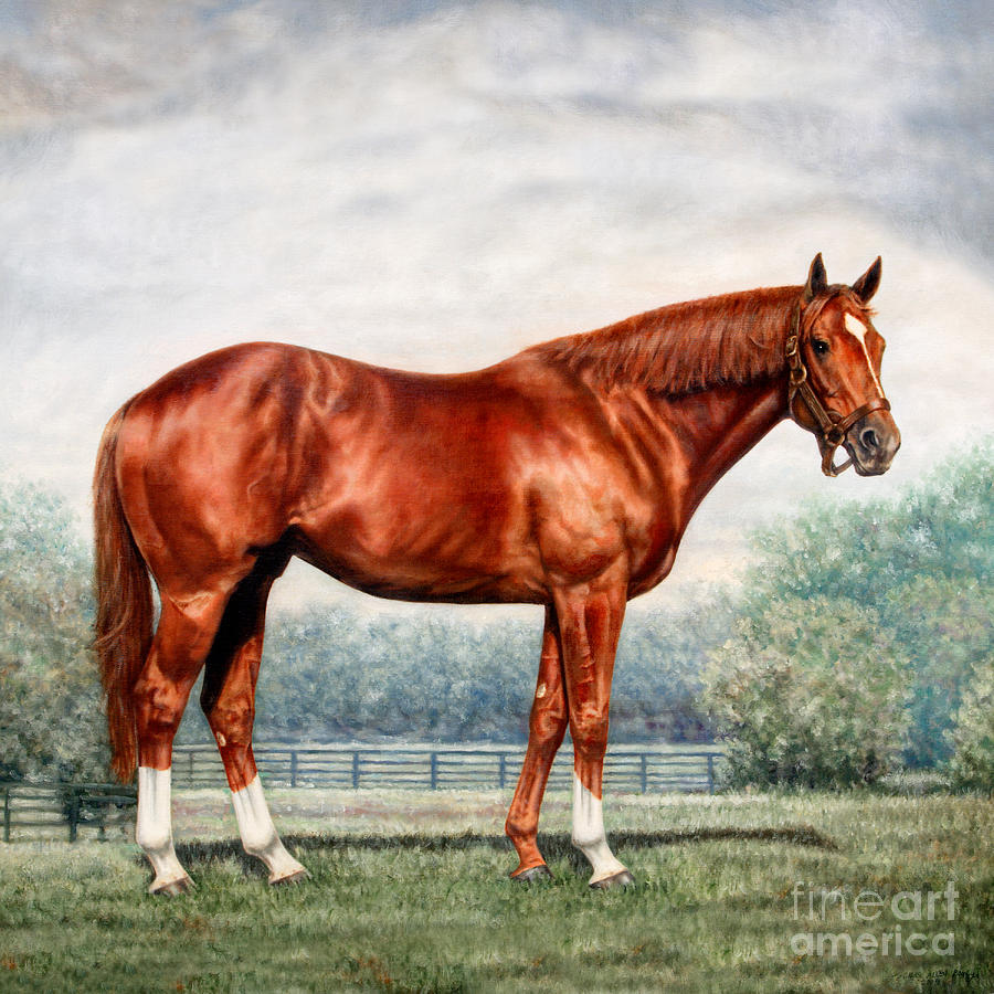 Tags Painting - Pillow - Secretariat by Thomas Allen Pauly