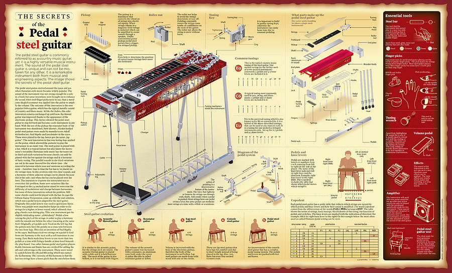 Secrets Of The Pedal Steel Guitar Wall Chart Digital Art by Andras ...