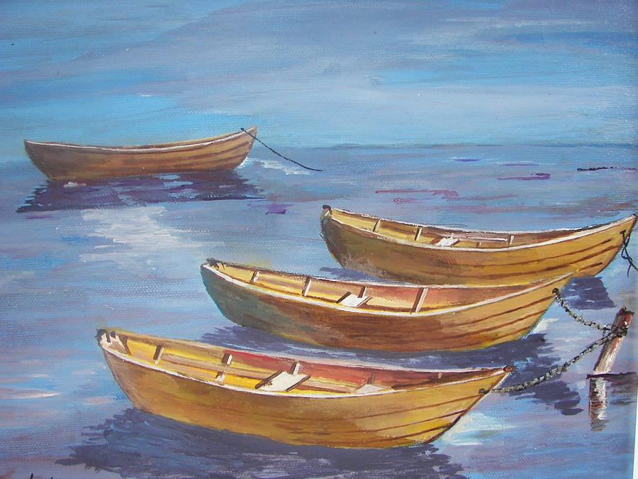 Boats Painting - Secure For The Night by Shirley Rush