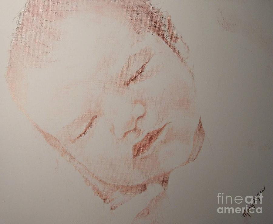Sleeping Child Drawing - Secure by Mary Lynne Powers