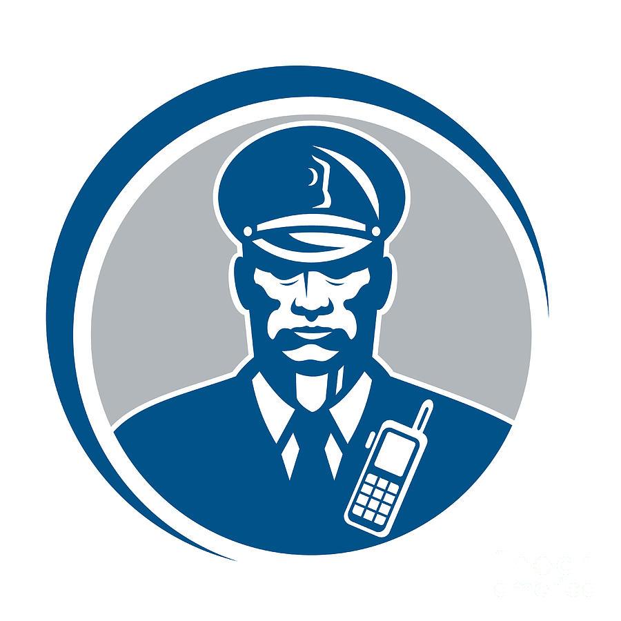 Policeman Digital Art - Security Guard Police Officer Radio Circle by Aloysius Patrimonio