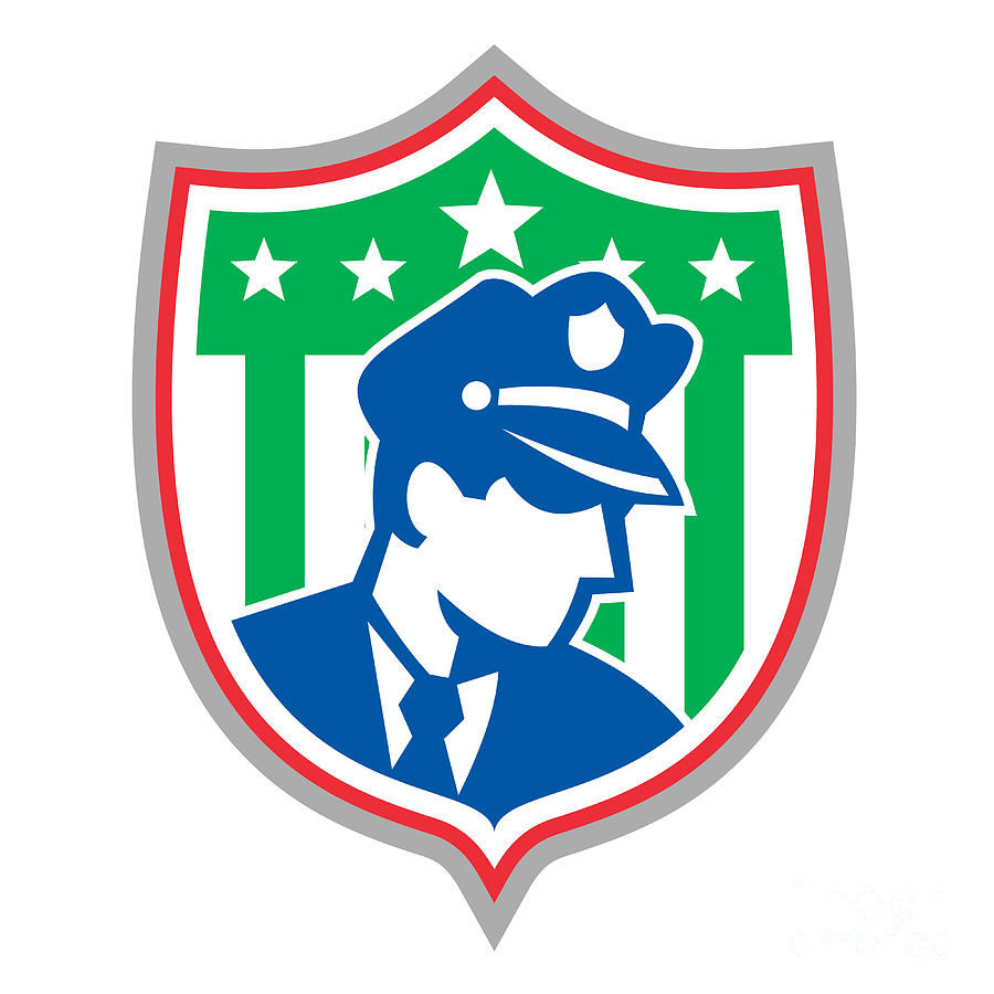 Policeman Digital Art - Security Guard Police Officer Shield by Aloysius Patrimonio