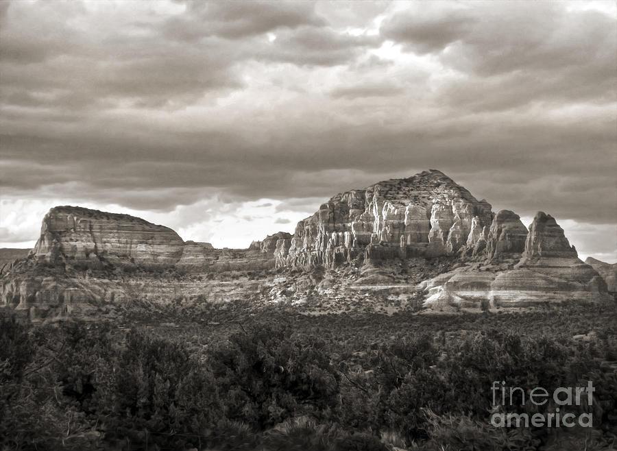Sedona Arizona Photograph - Sedona Arizona Black And White Mountains And Big Sky by Gregory Dyer