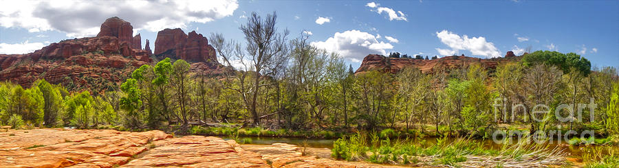 Sedona Arizona Photograph - Sedona Arizona Cathedral Rock Panorama by Gregory Dyer