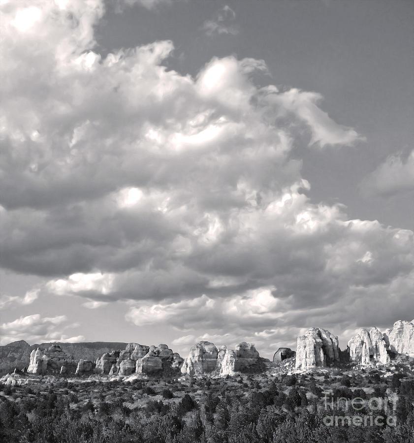 Sedona Arizona Photograph - Sedona Arizona Mountains In Black And White by Gregory Dyer