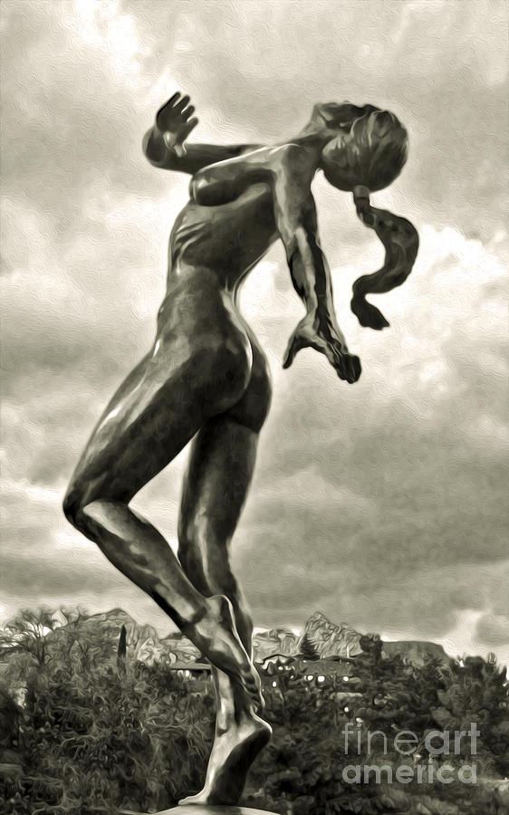 Sedona Arizona Photograph - Sedona Arizona Statue In Sepia by Gregory Dyer