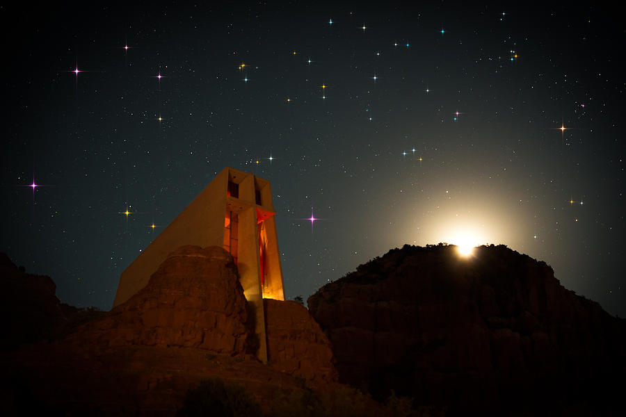 All Rights Reserved Photograph - Sedona Chapel Moonrise Vortex by Mike Berenson