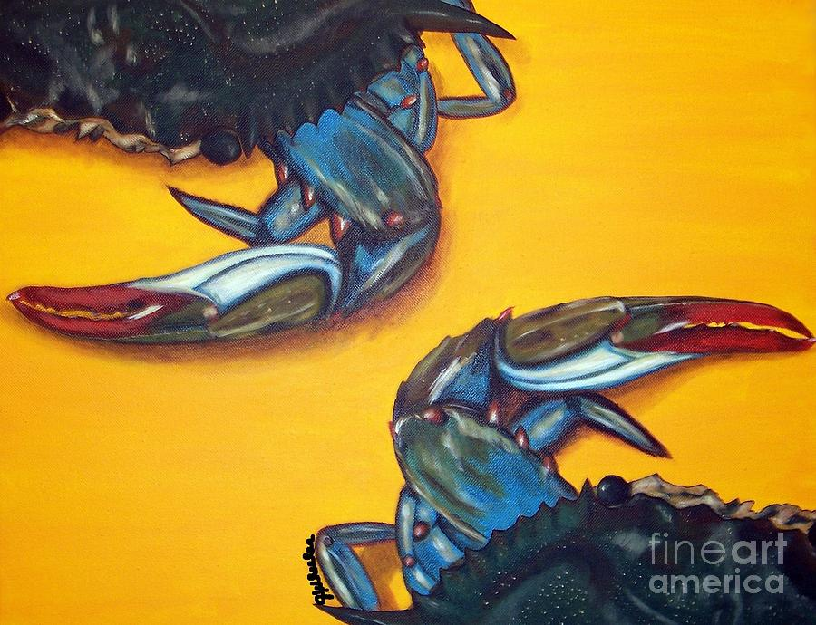 Blue Crab Painting - Seeing Double by JoAnn Wheeler