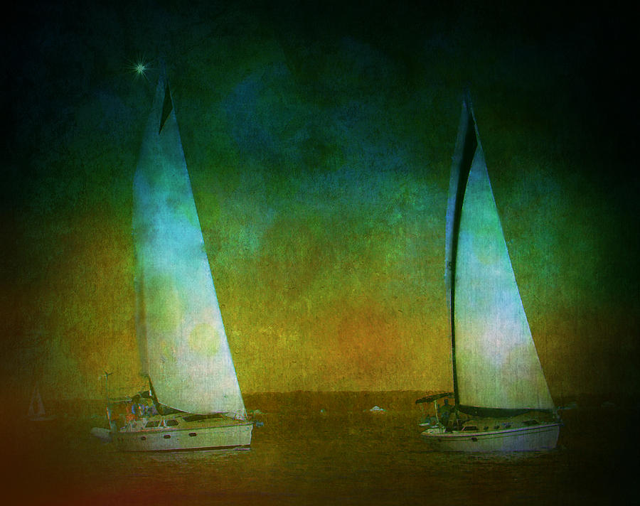 Sailboats Photograph - Seeing Double by Sheryl Bergman