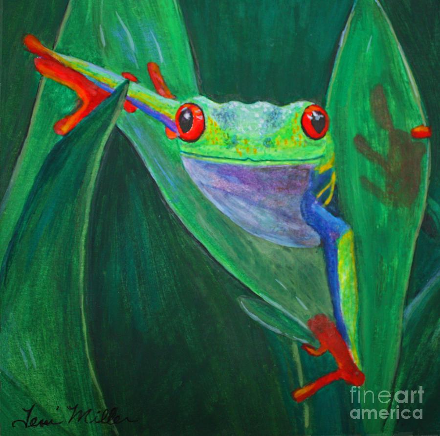 Frog Painting - Seeing Eye To Eye by Terri Maddin-Miller