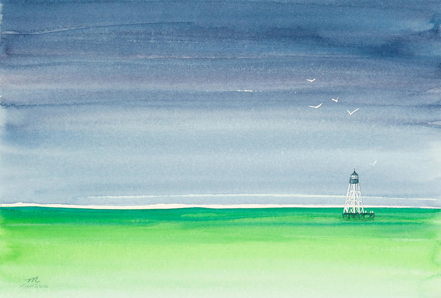 Refuge Painting - Seeking Refuge Before The Storm Alligator Reef Lighthouse by Michelle Wiarda