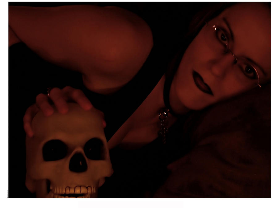 Female Photograph - Selena And Skull Face by Matt Nelson