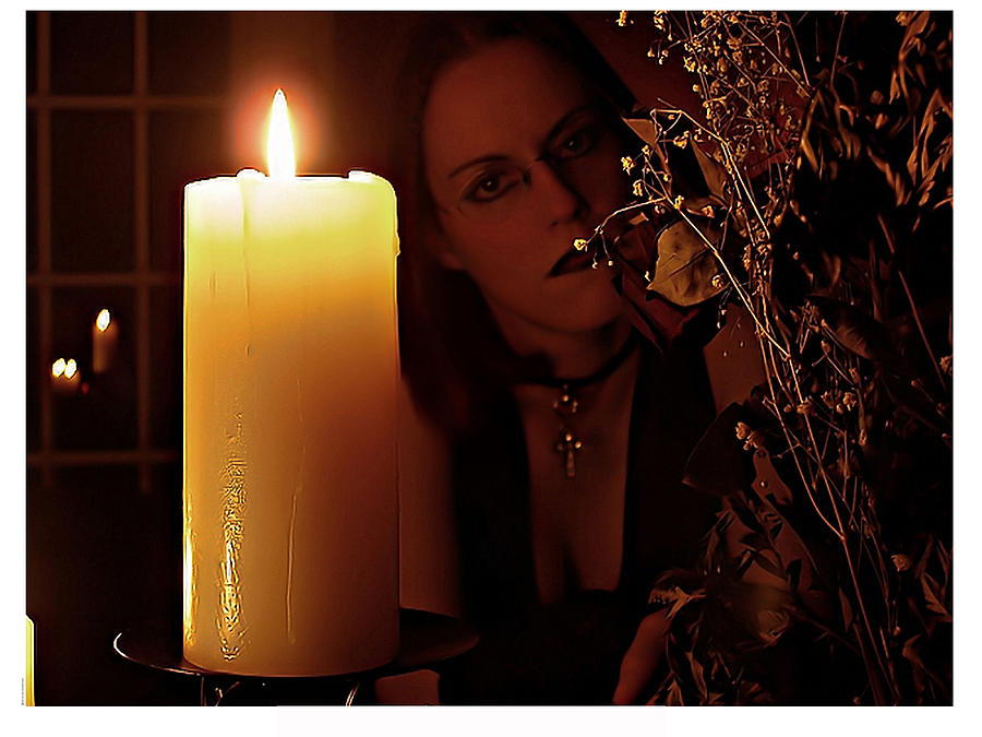 Female Photograph - Selena Candle Light And Dead Roses by Matt Nelson