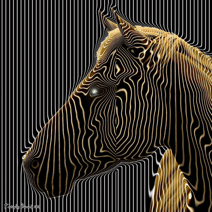 Self-conscious Attempt To Become Zebras.  2013  80/80 Cm.  Digital Art by Tautvydas Davainis
