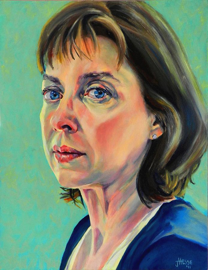 Portait Painting - Self Portrait 2011 by Jolante Hesse