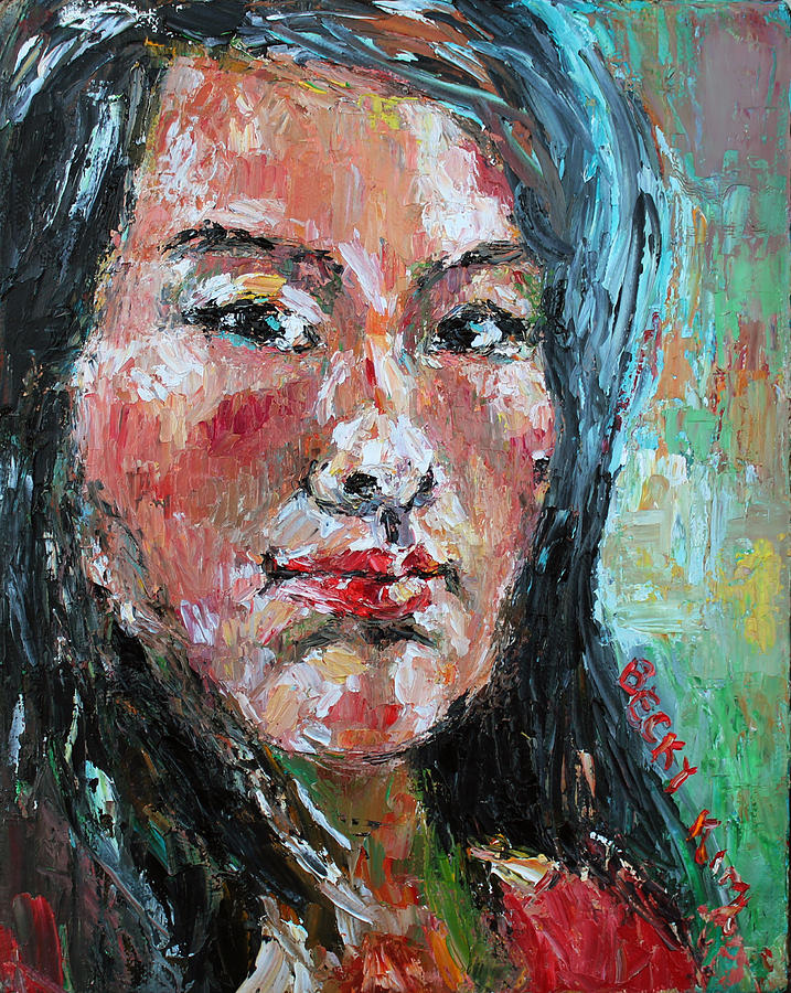 Self-portrait Painting - Self Portrait 2013 - 1 by Becky Kim