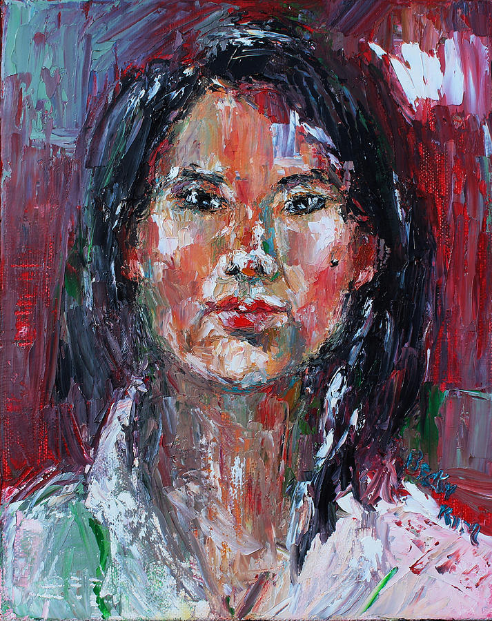 Self-portrait Painting - Self Portrait 2013 -2 by Becky Kim