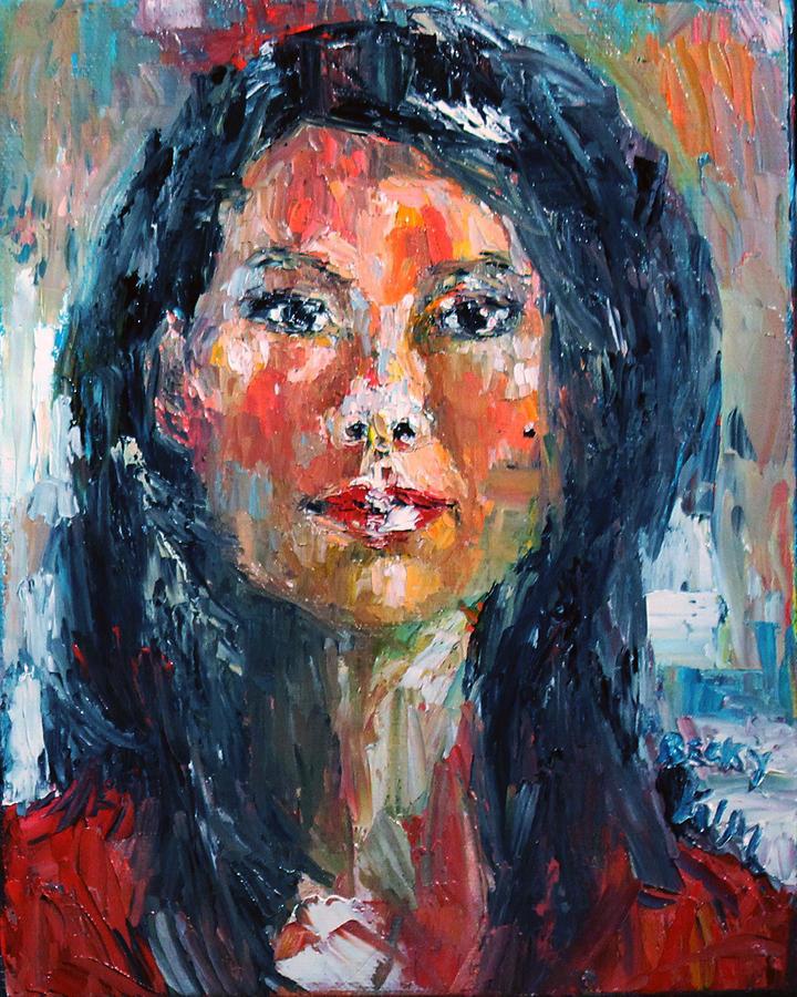 Self-portrait Painting - Self Portrait 2013 - 4 by Becky Kim