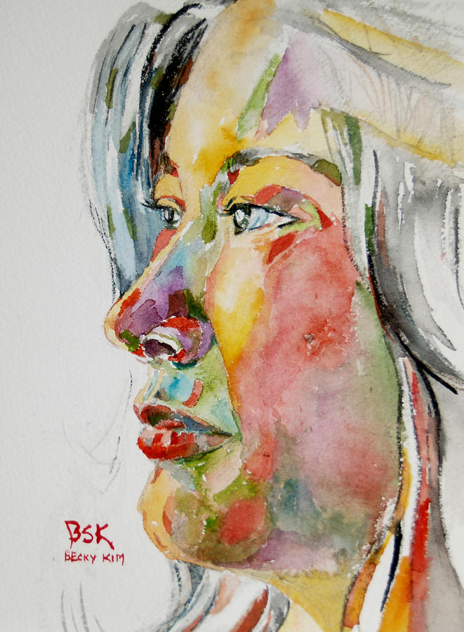 Watercolor Painting - Self Portrait 4 by Becky Kim