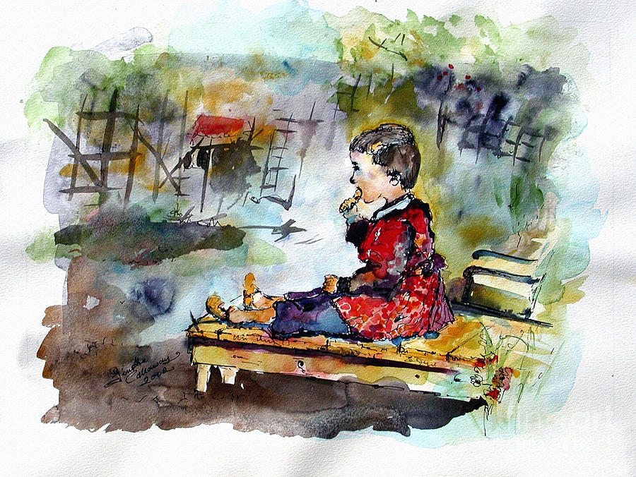 Children Painting - Self Portrait Childhood by Ginette Callaway