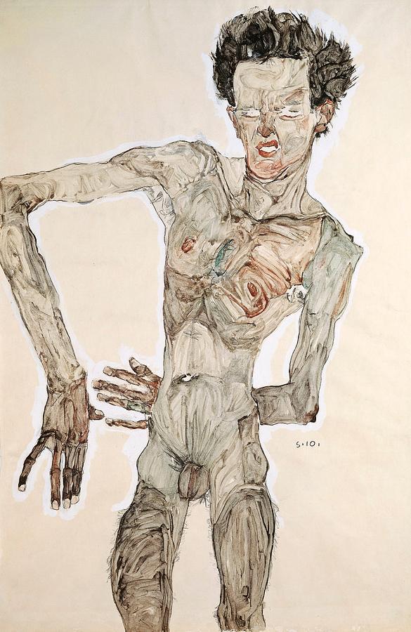 Expressionism Painting - Self-portrait by Egon Schiele