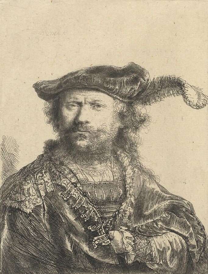 Self Drawing - Self Portrait In A Velvet Cap With Plume by Rembrandt