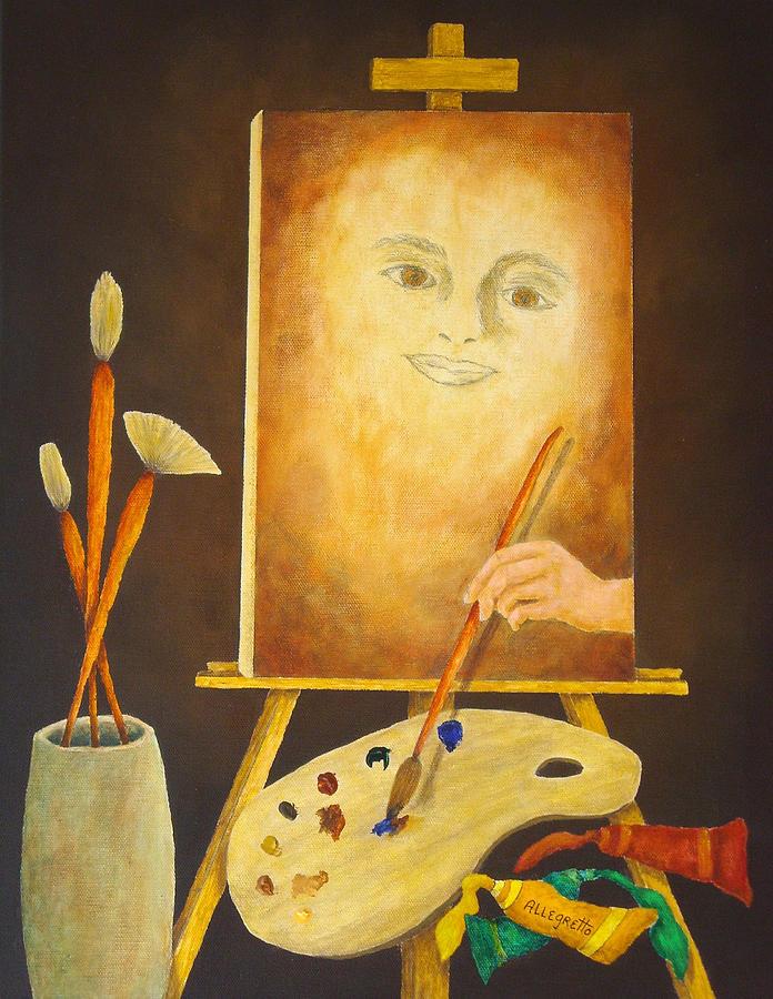 Pamela Allegretto Painting - Self-portrait In Progress by Pamela Allegretto
