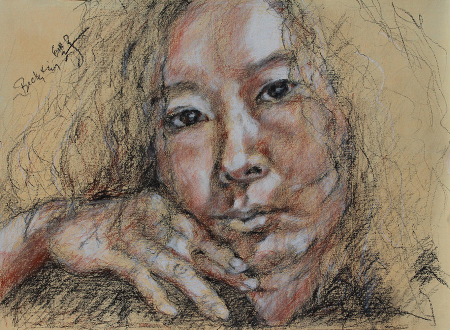 Drawing Drawing - Self Portrait Of Becky Kim 2014 02 by Becky Kim