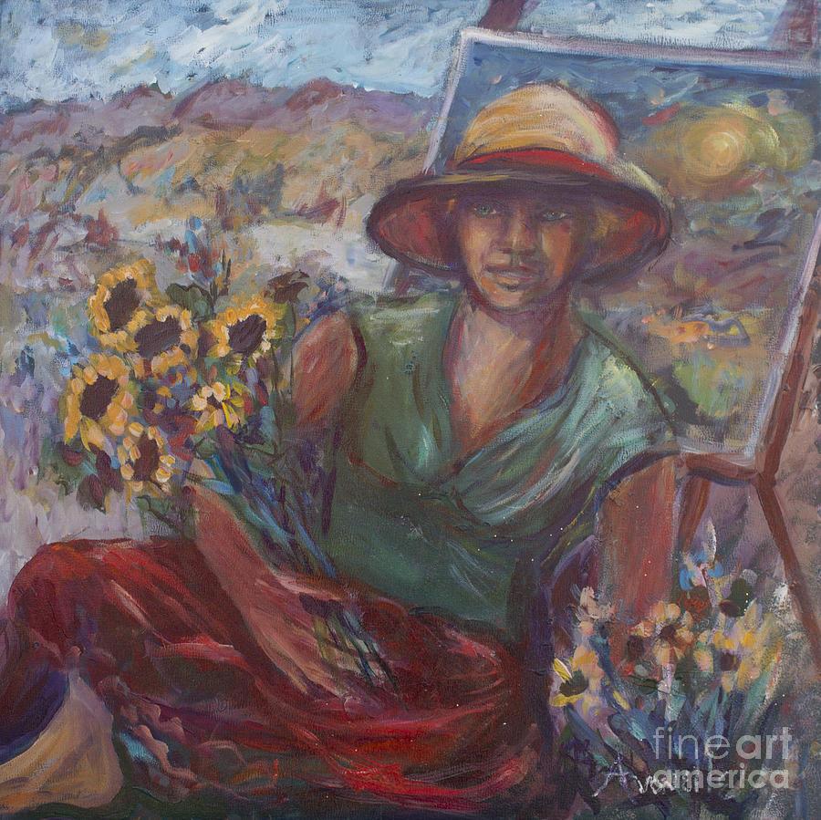 Self Portrait Painting - Self Portrait On A Picnic Table by Avonelle Kelsey
