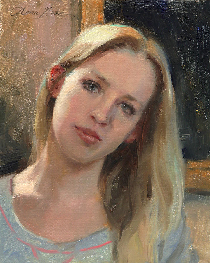 Self Portrait Painting - Self Portrait On A Saturday by Anna Rose Bain