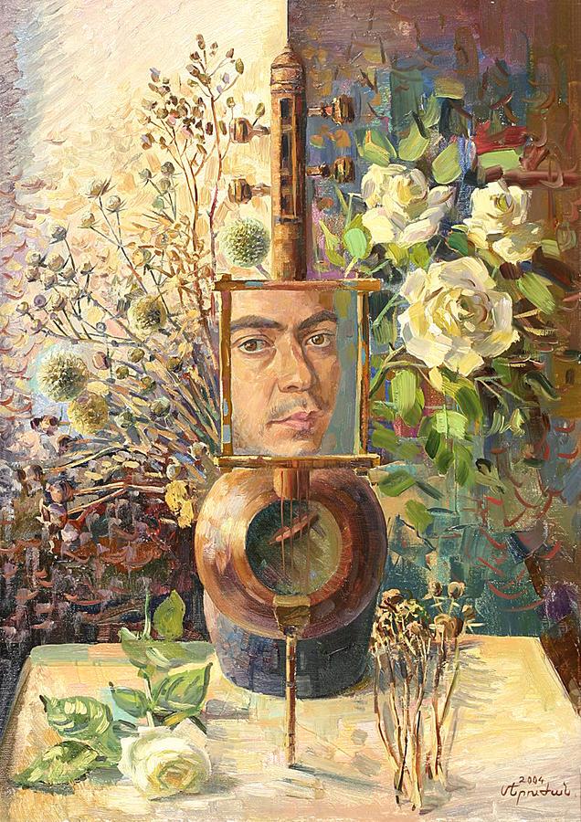 Khachatryan Meruzhan Painting - Self-portrait Our Two Parties by Meruzhan Khachatryan