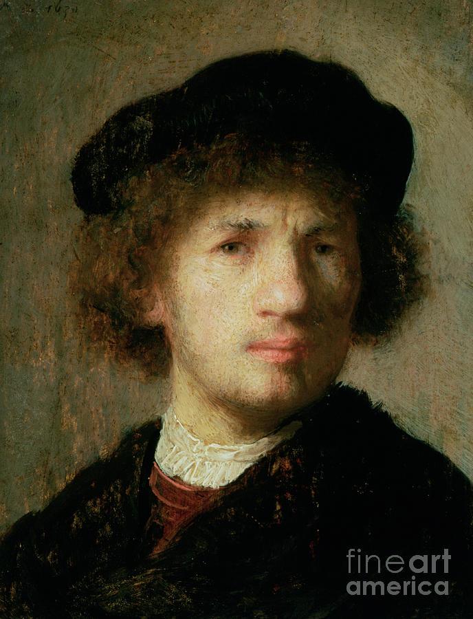 Artist Painting - Self Portrait by Rembrandt Harmenszoon van Rijn