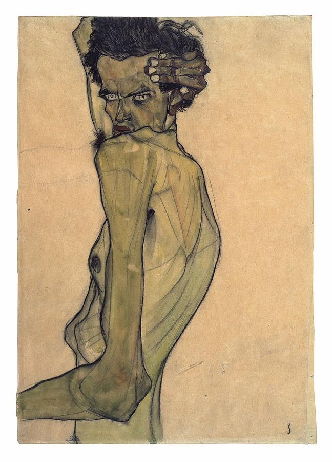 Egon Schiele Painting - Self-portrait With Arm Twisted Above Head by Egon Schiele