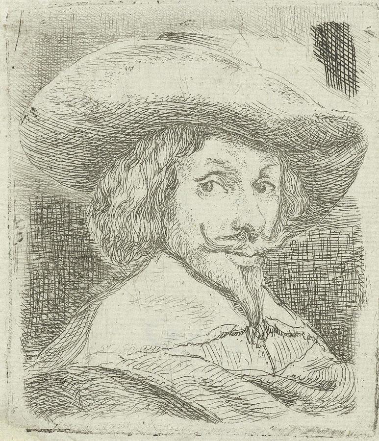 Portrait Drawing - Self Portrait With Hat, Jan Van Ossenbeeck by Jan Van Ossenbeeck