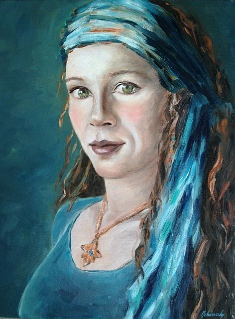 Lady Painting - Self-portrait With Headscarf II by Beata Belanszky-Demko