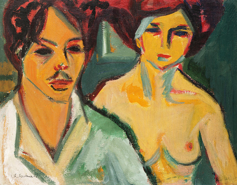 German Expressionism Painting - Self Portrait With Model by Ernst Ludwig Kirchner
